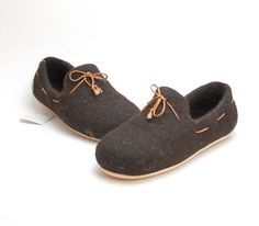 Felted wool slipper loafers coffee brown with by WoolenClogs, $85.00