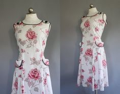 50s rose print day dress with full skirt and big by AnatomyVintage