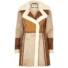River Island Tan faux suede panel coat (14.245 RUB) ❤ liked on Polyvore featuring outerwear, coats, river island, faux coat, beige coat, faux fur lined coat and tan coat