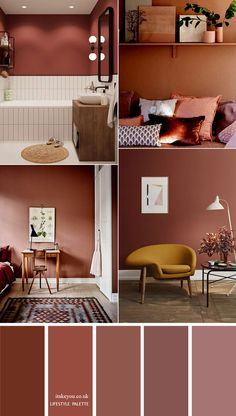 Mauve and Terracotta Color Combinations for Home Decor 1 - I Modern Bathroom Decor, Modern Decor, Vintage Bathrooms, Living Room Decor, Bedroom Decor, Living Room Brown, Mauve Living Room, Earthy Living Room, Colourful Living Room