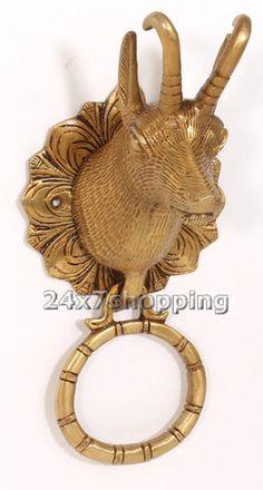 Shiny Brass Bull Face Pull Front Fine Door Knocker Hand Carved Hardware Knob New