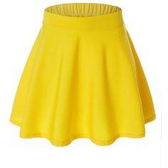Womens Versatile Flared Skater Skirt at Amazon Women's Clothing store: ($4.99) ❤ liked on Polyvore featuring skirts, flared hem skirt, knee length flared skirts, yellow skater skirt, flared skirts and flare skirt