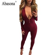 2a877ca4a37  0 - Nice Sexy Deep V Zip up Women Jumpsuits Fashion Full Sleeve Two Ways  Wear