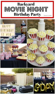 All you need for this backyard movie night birthday party is a a good movie, yummy snacks, fun friends, and a place to set up a makeshift theater. Outdoor Movie Birthday, Movie Theatre Birthday Party, Backyard Movie Night Party, Outdoor Movie Party, Backyard Birthday Parties, Sleepover Birthday Parties, Birthday Party For Teens, Birthday Ideas, 12th Birthday