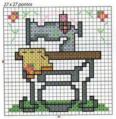 free cross stitch pattern of sewing machine