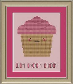 Om nom nom: cute Kawaii cross-stitch pattern. $3.00, via Etsy.