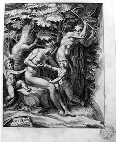 "Adam, Eve, Cain, and Abel after the Expulsion from Paradise (Bartsch 3). Engraving after Polidoro da Caravagio on cream laid paper mounted on laid paper. First state before the inscription. Signed in the plate: ""POLIDORVS DE CARACAGIO INVENT"" on rock at left; ""for. Rome G ALbertus"" center at bottom margin."