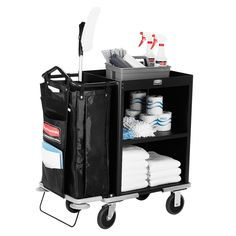 Rubbermaid 9T60 Metal Compact Housekeeping Cart (FG9T6000BLA)