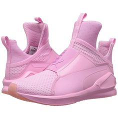 PUMA Fierce Bright Mesh (Prism Pink) Women's Shoes (€93) ❤ liked on Polyvore featuring shoes, athletic shoes, breathable mesh shoes, breathable shoes, slip-on shoes, slip on shoes and traction shoes
