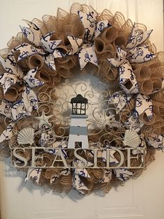 A personal favorite from my Etsy shop https://www.etsy.com/listing/398420771/deco-mesh-beach-wreath-burlap-mesh-beach