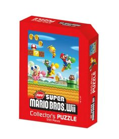$6.00 Super Mario: Wii Puzzle. Mario and Luigi set forth on a brand-new adventure with New Super Mario Bros. Wii, and this 550-piece puzzle features artwork from the game! Measuring 18 x 24 when complete, this is one puzzle that no Nintendo fan will want to miss.