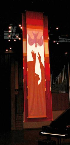 Large Pentecost parament (double layer) by Joanne Alberda (18 feet high)