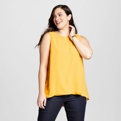 Women's Plus Size Perfect Layering Shell Pharaoh Gold 3X - Ava & Viv