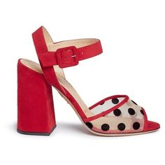 Charlotte Olympia 'Emma' polka dot mesh suede sandals (2,095 PEN) ❤ liked on Polyvore featuring shoes, sandals, red, mesh shoes, red suede shoes, ankle tie sandals, ankle strap shoes and suede sandals