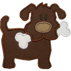 Dog with Bone Applique Machine Embroidery Design by HappyApplique