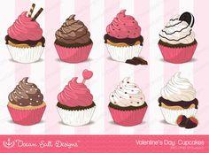 Valentine Clipart Valentines Day Cupcake by OceanSaltDesigns