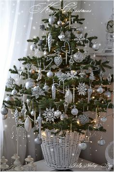 silver christmas tree in basket may do something like this in the living room but - Silver And White Christmas Tree Decorations