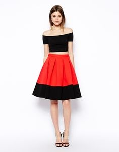 Perfect #UGA game day skirt!  #georgia football ASOS Premium Bonded Midi Skirt In Color Block - Red/black