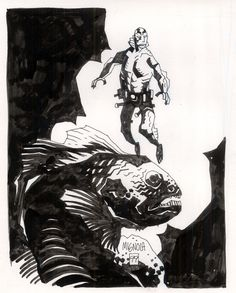 Mike Mignola ABE SAPIEN, in TIM TOWNSEND's mike mignola Comic Art Gallery Room - 347392