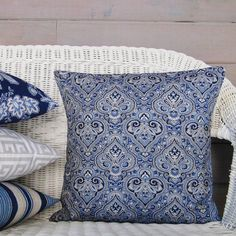 Navy Blue Paisley Pillow Cover Taupe Tan White Decorative Throw Accent Toss Couch Bed 16x16 18x18 20x20 22x22 12x16 12x18 12x20 14x22 Zipper