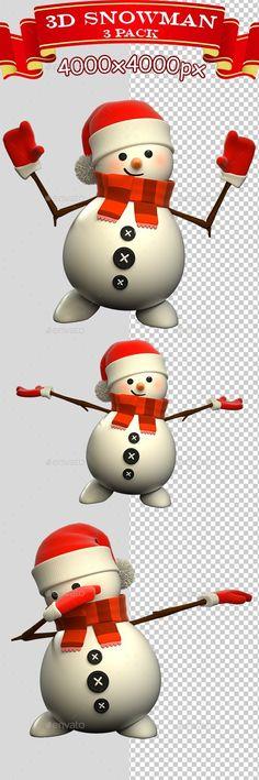 3D Snowman Standing - 3 Pack - Characters #3D Renders