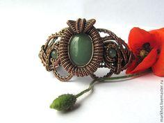 """Купить Браслет из меди и камней """"Опиум"""" - зеленый, Браслет ручной работы, медный, винтажный стиль"""
