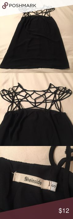 Geometric cage chiffon mini dress Geometric cage strappy mini dress | size small | reposh - sadly it just didn't fit me correctly    ❤️Shipping in 1-2 business days  ❤️Smoke-free closet  ❤️No trades ❤️Offers welcomed; prices negotiable ❤️Bundle! 10% for 2+ items ❤️Leave questions in the comments Sheinside Dresses Mini
