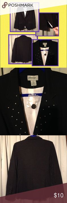 Black Blazer Black Blazer with shiny crystals on the front. New with an extra button with it. Jackets & Coats Blazers
