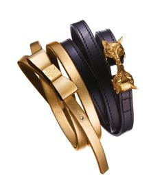 Two charming finishing touches: the Tory Burch Metallic Bow headband and Kissing Fox belt