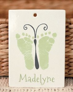 Ornaments made from your Child's actual hand and footprints! Can be personalized in any way you wish! This ornament is 100% handmade by Forever Prints. You simply send us a print image captured on paper, and we do the rest! The ornament is created to last forever, and kiln fired 3 times for over 40 hours at 2000 degrees. A true heirloom quality keepsake! www.myforeverprints.com