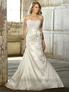 A-line Sweetheart Satin Sweep Train White Beading Wedding Dresses -$243.29