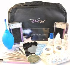 "The Luxe Mink Eyelash Extension Kit    67 Piece - Salon Professional Mink Eyelash Extensions Kit. Good for beginners to advanced eyelash extension technicians. Enough products for approximately 60 applications.  The Professional Travel case is lightweight nylon yet durable measuring 11""L x 7""W x 3.5""H. Includes top and bottom compartments for all your eyelash extension tools. For a list of all items included in this premium kit please see bullet points below."