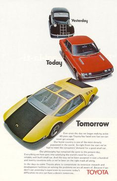 Vintage Toyota ad. Check out what they thought the cars of today would look like.