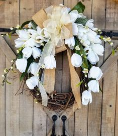 Front Door Wreath, white tulip farmhouse wedding wreath, Burlap Wreath, White tulip front door wreath, Green Wreath by FarmHouseFloraLs on Etsy Greenery Wreath, Grapevine Wreath, Wreath Burlap, Burlap Ribbon, Cotton Wreath, Wreaths For Front Door, Door Wreaths, Tulip Wreath, White Wreath