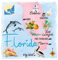 Looking through some older stuff I came across this one created for Cruise magazine. Places In Florida, Old Florida, Vintage Florida, Florida Travel, Florida Beaches, Florida Maps, Florida Style, Orlando Florida, Fort Lauderdale