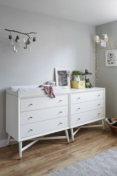 Rock-A-Bye Baby. The Finley three-drawer dresser features a crisp white finish that's sure to freshen up any nursery.