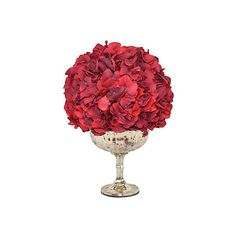 """15"""" Red Hydrangea Arrangement - Faux Arrangements (1.275 BRL) ❤ liked on Polyvore featuring home, home decor, decor, decorative accessories, red decorative accessories, red planter, faux planters, red home decor and red home accessories"""