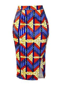 Hasana African Print Pencil Scuba Midi Skirt (Orange Steps) by corinne African Inspired Fashion, Latest African Fashion Dresses, African Dresses For Women, African Print Fashion, Africa Fashion, African Attire, African Pencil Skirt, African Print Skirt, African Print Clothing