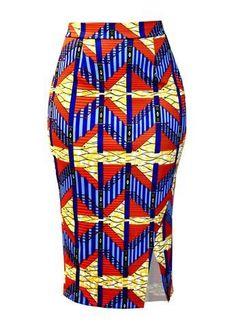 Hasana African Print Pencil Scuba Midi Skirt (Orange Steps)