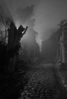 Goth: Grim street ~ night photography with fog and uncorrected lighting. Spooky Places, Haunted Places, Dark Photography, Night Photography, Foto Nature, Sombre, Dark Places, Dark Fantasy, Belle Photo