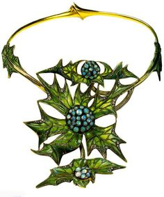 Thistle necklace by Lucien Gaillard, c. 1903, made of gold, plique-a-jour enamel and opals.