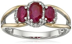 SG Sterling Silver and 14k Yellow Gold Three Stone Ruby and White Sapphire Accent Ring Size 7 >>> Read more  at the image link.Note:It is affiliate link to Amazon.