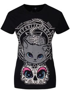 CUPCAKE CULT CAT NIGHT LADIES BLACK T-SHIRT