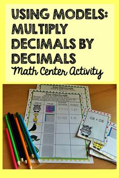 Fun math center activity to help students practice multiplying decimals by decimals using models.  This is perfect for 5th grade!  Also available in a money-saving bundle.