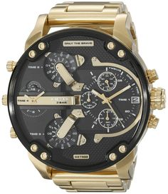 Diesel Men's DZ7333 Mr Daddy 2.0 Gold Watch. Gold-tone stainless steel watch with large textured-black dial featuring multiple chronograph functions and date display. 57 mm stainless steel case with mineral dial window. Quartz movement with analog display. Stainless steel band with deployant-clasp closure. Water resistant to 30 m (99 ft): In general, withstands splashes or brief immersion in water, but not suitable for swimming.