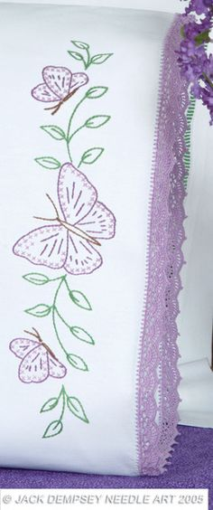 Circle of Butterflies Hemstitched Pillowcases Embroidery Kit