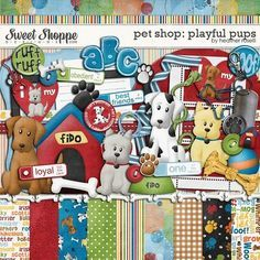 """Photo from album """"Playfull pups"""" on Yandex. Vintage Scrapbook, Baby Scrapbook, Scrapbook Paper, Scrapbooking Freebies, Digital Scrapbooking, Digital Papers, Cute Scrapbooks, Paper Butterflies, Printable Crafts"""