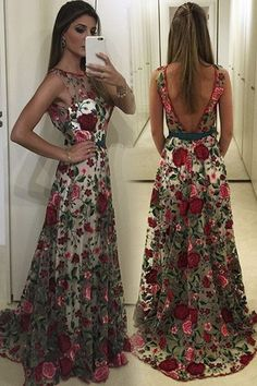 Pretty tulle round neck open back long flower printed prom dress