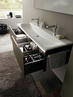 Choose The Latest Modern Sink Collection Of The Highest Quality For Your Home's Main Bathroom is part of Bathroom sink design - Choose The Latest Modern Sink Collection Of The Highest Quality For Your Home's Main Bathroom Floating Bathroom Sink, Bathroom Sink Design, Bathroom Interior Design, Bathroom Storage, Master Bathroom, Bathroom Sinks, Bathroom Ideas, Bathroom Cabinets, Large Bathroom Sink