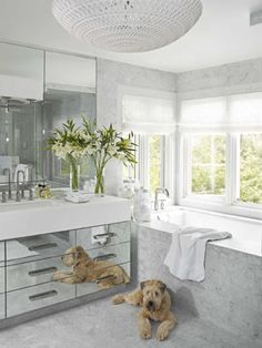 Modern white bathroom.